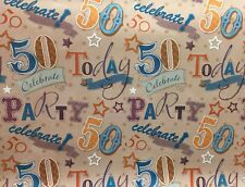 50th Birthday Wrapping Paper Age 50 Birthday Gift Present Wrap Free 1st Delivery