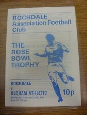 24/08/1981 Rochdale v Oldham Athletic [Rose Bowl Trophy] (4 Pages). Item appears
