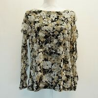 Charter Club Womens Top Floral Print Ruffle Sheer Sleeve Mesh Blouse Black $59