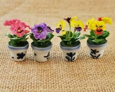 4 Colorful Pansy Flower Miniature Dollhouse Plants in Ceramic Pots Home Decor