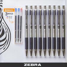 Zebra Ball Point Pen F.301 (BLACK) - 9 Pack - 0.7mm Fine Point Stainless Steel