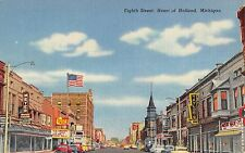 Eighth Street, Heart of Holland, Michigan Antique Postcard (T3414)