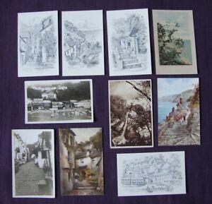 17 different Clovelly Devon Postcards