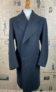 Vintage 1930's bespoke double breasted grey heavy overcoat size 40