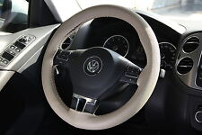 BEIGE PVC Leather Steering Wheel Stitch Wrap Cover Needle Thread DIY Acura Audi