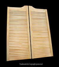 "CAFE DOOR PINE LOUVERED 29""W Saloon Swinging Pub Bar Western with Gravity Hinges"
