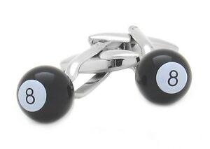 "HIGH QUALITY MEN'S  NOVELTY POOL CUFFLINKS - EIGHT ""8"" BALL"