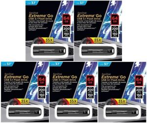 5 Pack SanDisk 64GB EXTREME GO 64G USB 3.1 200MB/s Flash Pen Drive SDCZ800-064G
