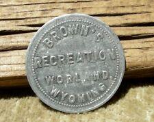 old WORLAND WYOMING WY WASHAKIE CO R6 JOHN G BROWN BILLIARD 25c POOL HALL TOKEN