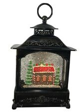 "Valerie Parr Hill 12"" Illuminated Glitter Lantern with Gingerbread House Damaged"