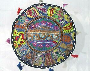 Khambadiya Floral Patchwork Round Bean Bag Pouf Ottoman Pouffe Cover Seat Stool