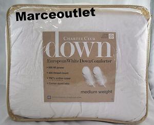 Charter Club Medium Weight KING European White Down Comforter