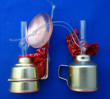 """2 Christmas ornaments doll house size miniagure copper lamps 3"""" tall"""