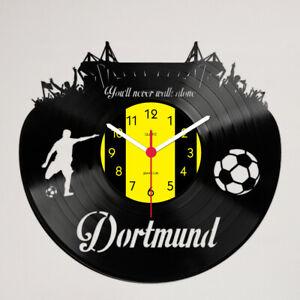 """Dortmund """"You'll never walk alone"""" Schallplattenuhr - Made in Germany zu 100%"""