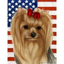 Patriotic (D2) House Flag - Yorkshire Terrier Yorkie Show Cut 32233