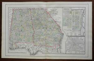 Georgia & Alabama County Map Atlanta Savannah Mobile Montgomery 1887 Bradley map