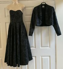 Vintage Laura Ashley Gothic Black Strapless 1980s dress Ball Gown 2 Piece Set
