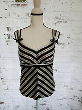 Arden B  Black and Cream V-Striped Sleeveless Blouse Top Size Medium  B1