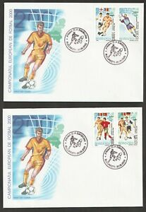 2000  ROMANIA  -  EURO FOOTBALL CHAMPIONSHIPS SET ON 2 FIRST DAY COVERS