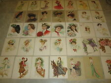 Collection of 37 Old Vintage 1903-1910 - VICTORIAN LADY - Lithograph PRINTS