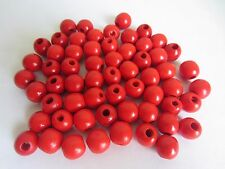 """Lot of 60 Red Wood Round Macrame Wooden Craft Jewelry Beads 9/16"""" 16mm"""
