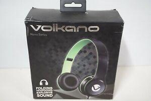 Volkano Nova Series Folding Headphones - Model # VB-VH4032 - Black & Lime Green