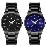 WWOOR Men's Stainless Steel Watches Band Mesh Calendar Analog Quartz Wrist Watch