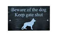 Beware of the dog Keep gate shut Slate Gate Wall House Plaque Sign ANY Dog Breed