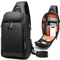 Men's Sling Backpack Oxford cloth Waterproof Crossbody Bag Outdoor Sport Bag USB
