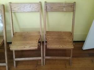 1940s Snyder WOODEN SLAT (4) Chairs Folding OAK Vintage