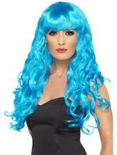 Blue Siren Wig Long, Curly with Fringe Adult Womens Smiffys Fancy Dress Costume