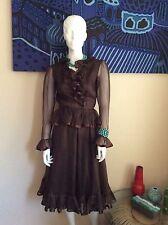 ALBERT CAPRARO Vintage Dark Brown Silk Sheer Ruffle Dress Size 6
