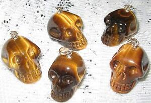 BEAUTIFUL UNISEX *TIGER EYE* CARVED SKULL PENDANT WITH A S/SILVER BALE/ A1 GRADE