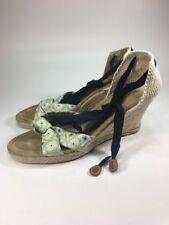 J Crew Ankle Wrap Leather Espadrilles Wedges Shoes Womens Size 10 M