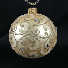 """Champagne Stones – Mouth-Blown Hand-Decorated European 4"""" Round Holiday Ornament"""
