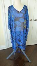 Chico's Ruana Style Cover up/Dress size 2 M 12/14 100% Silk blue tones