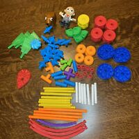 Knex Tinkertoys Building Set Pieces Plastic Wheels Spools Rods LOT 90+