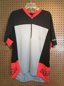 Fox Racing Cycling Jersey Men's Sz XL Black & Gray Zip Pouch #27