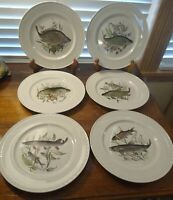 "Set Of Six Villeroy & Boch Fish 9 1/2"" Diameter Plates Trout Theme Luxembourg"
