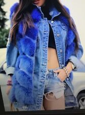 NEW SET FOX FUR VEST AND JEANS JACKET CLAS OF SABLE MINK CHINCHILLA XS-S