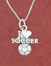 Soccer Necklace Sterling Silver I Love Charm pendant and chain solid 925