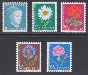 Switzerland 1963 MNH Mi 786y-790y Sc B329-B333 Flowers.Boy by Anker **