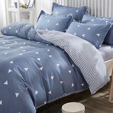 Geometric Striped Duvet Quilt Cover + Pillow Case Bedding Sets 100% Cotton H562
