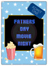 Fathers Day Movie Night Large Rectangle Stickers Letterbox Party Bag Sweet Box