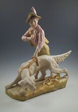 """VINTAGE ROYAL DUX, BOHEMIA BOY WITH SETTER HUNTING DOG SCULPTURE, REPAIRED 12"""""""