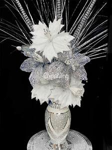 Romany Vase SILVER Crushed Mosaic White Glitter Vase With Flower Bling 34cm Vase
