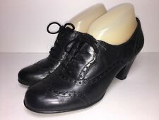 EUROSTEP Gabrielle Black Leather Oxford Heels Rockabilly Brogue Wingtip Sz 7.5