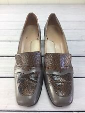 Vintage Gray Shoes Loafers Heels Pilgrim Italian Leather Block Snakeskin 10 Ss