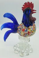 "Art Glass Rooster Hand Blown Figurine Red blue Confetti Fowl 8 3/8"" Murano style"