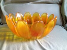 Vintage Gold Amber  Bowl ~ Very Heavy Glass - Great Condition